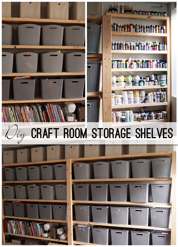 Woodworking Craft Room Shelving from 2x4s @savedbyloves & Woodworking Craft Room Shelving from 2x4s @savedbyloves ...