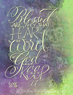 A Place To Flourish: Calligraphy Flourish Friday - Luke 11:28