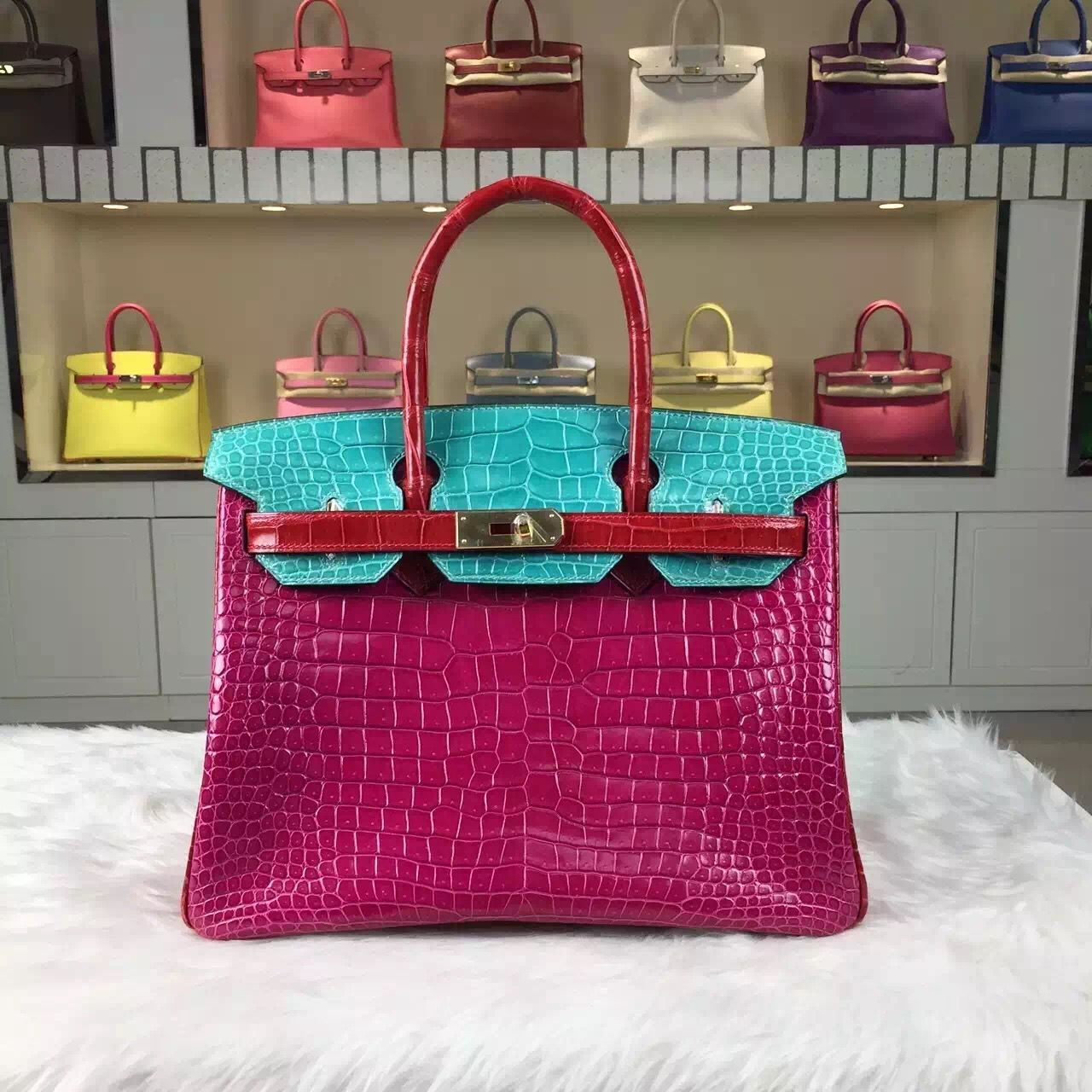 b9a8e6bef4 Brand  Hermes  Style  Birkin Bag30cm  Material Crocodile Shiny Leather (HCP  original leather) Color J5 6W Q5Color-blocking   Hardware  silver