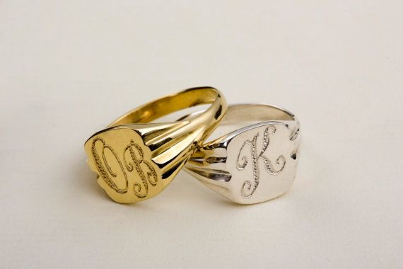 Rectangular Monogram Ring Gold Signet Pinky Ring Initial Ring