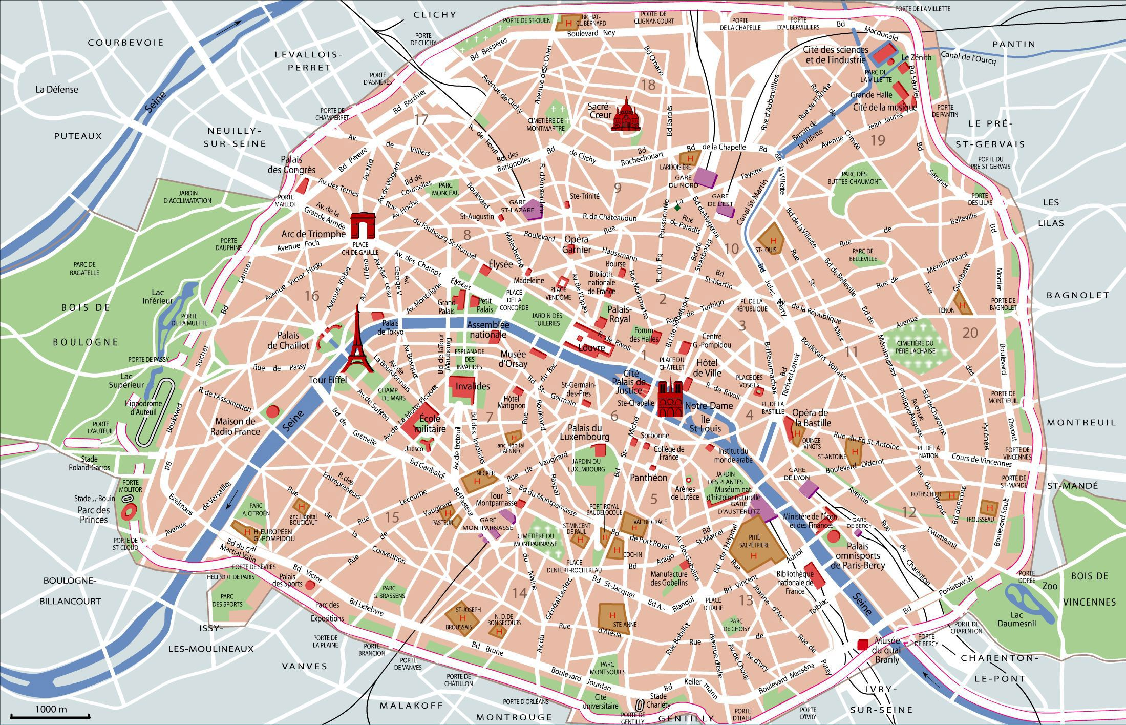 Tourist map of Paris attractions sightseeing museums sites