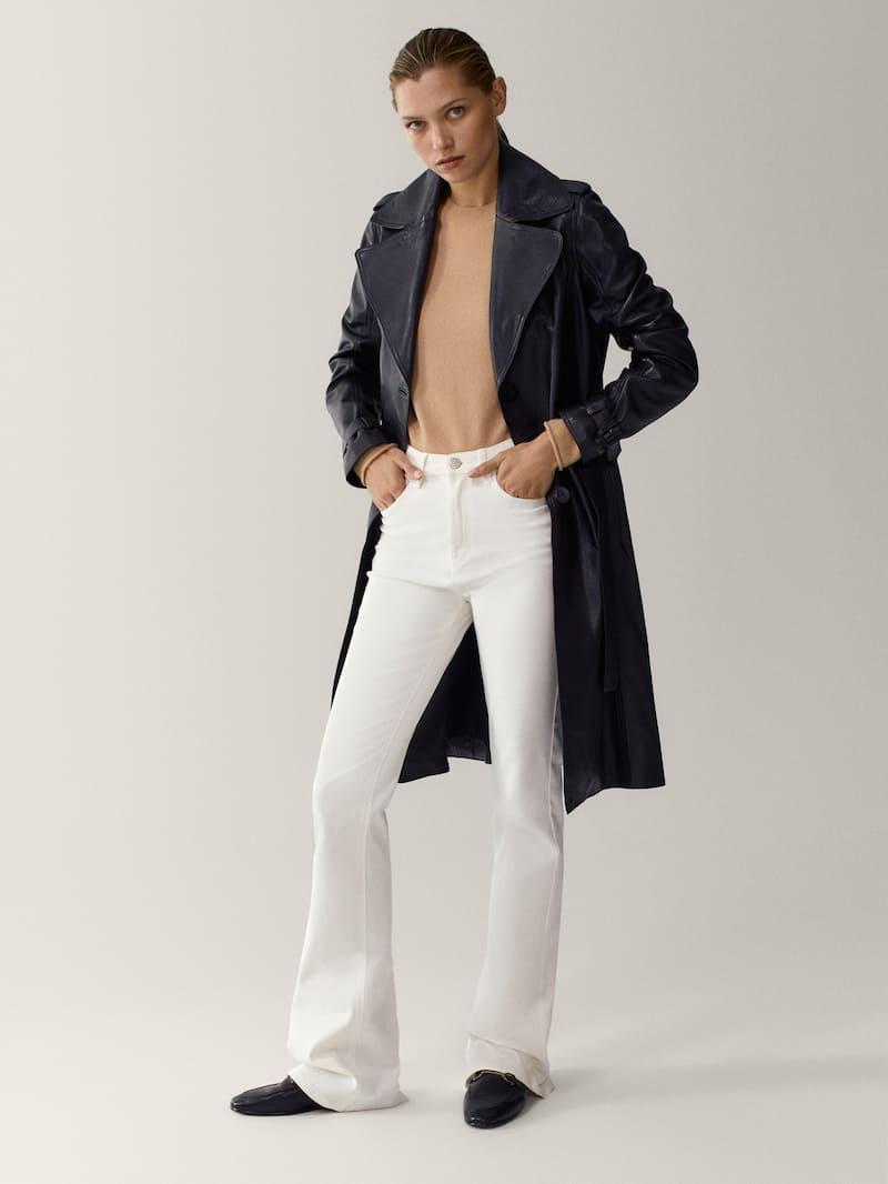 Black Leather Trench Jacket Women Massimo Dutti Trench Jacket Women Jackets For Women Leather Jackets Women