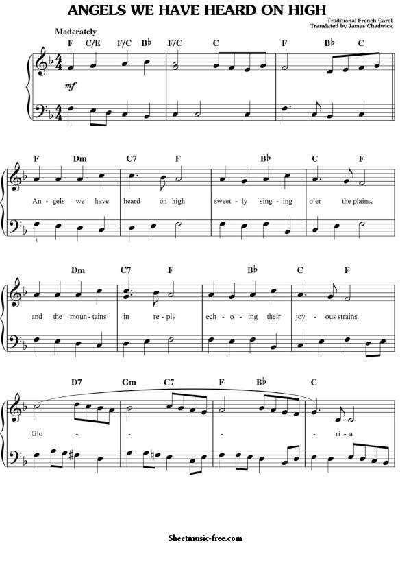 Angels We Have Heard On High Sheet Music Christmas Christian Hymns