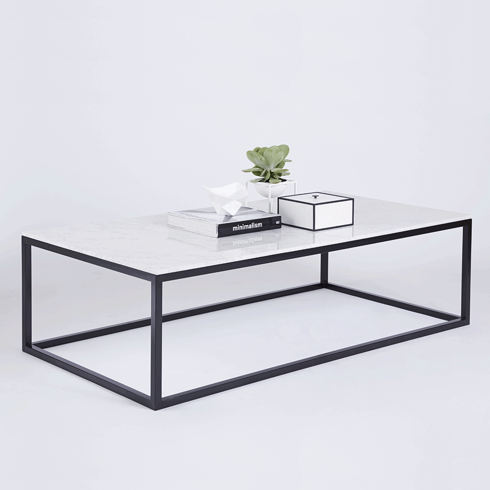 Modern designer marble coffee table black steel metal base powder metal frames and storage Black and white coffee table