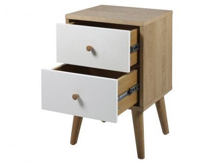 Oslo Oak White 2 Drawer Bedside Table Modern Bedroom Furniture