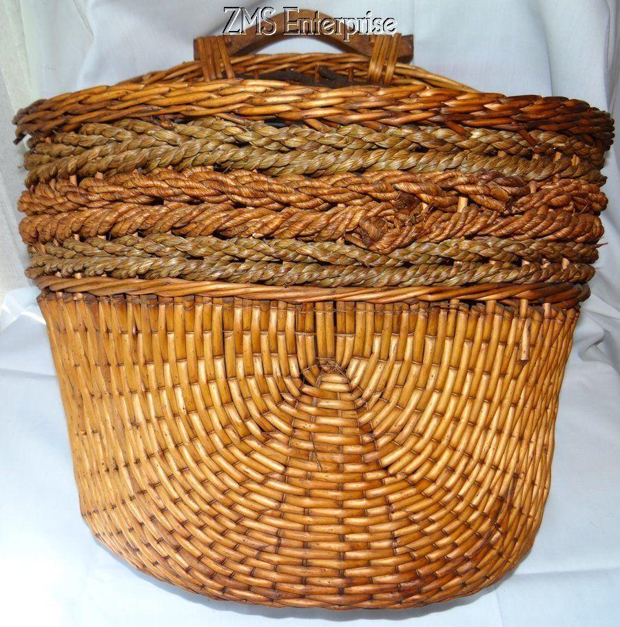 Antique Hand Woven Handled Splint Basket Wall Hanging Basket #Americana