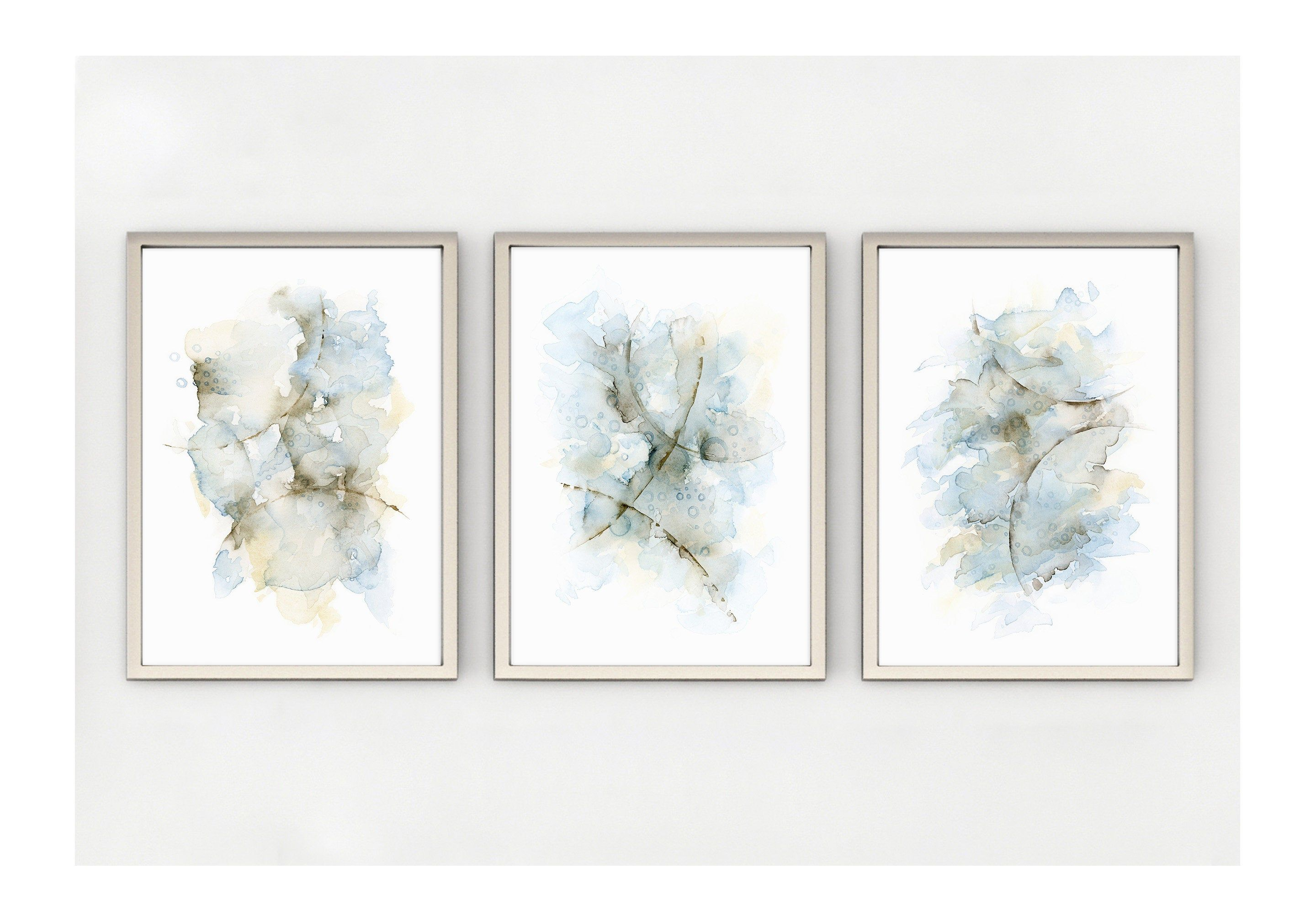 Set Of 3 Prints Abstract Painting In Blue Grey Brown Cream 5x7