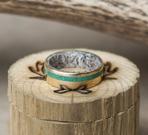 Men's gold and jade wedding band with elk antler lining. Custom and handcrafted wedding bands by Staghead Designs.