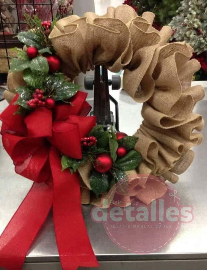 Corona Navidena Hecha Con Yute Navidad Arpillera Pinterest - Corona-navidea