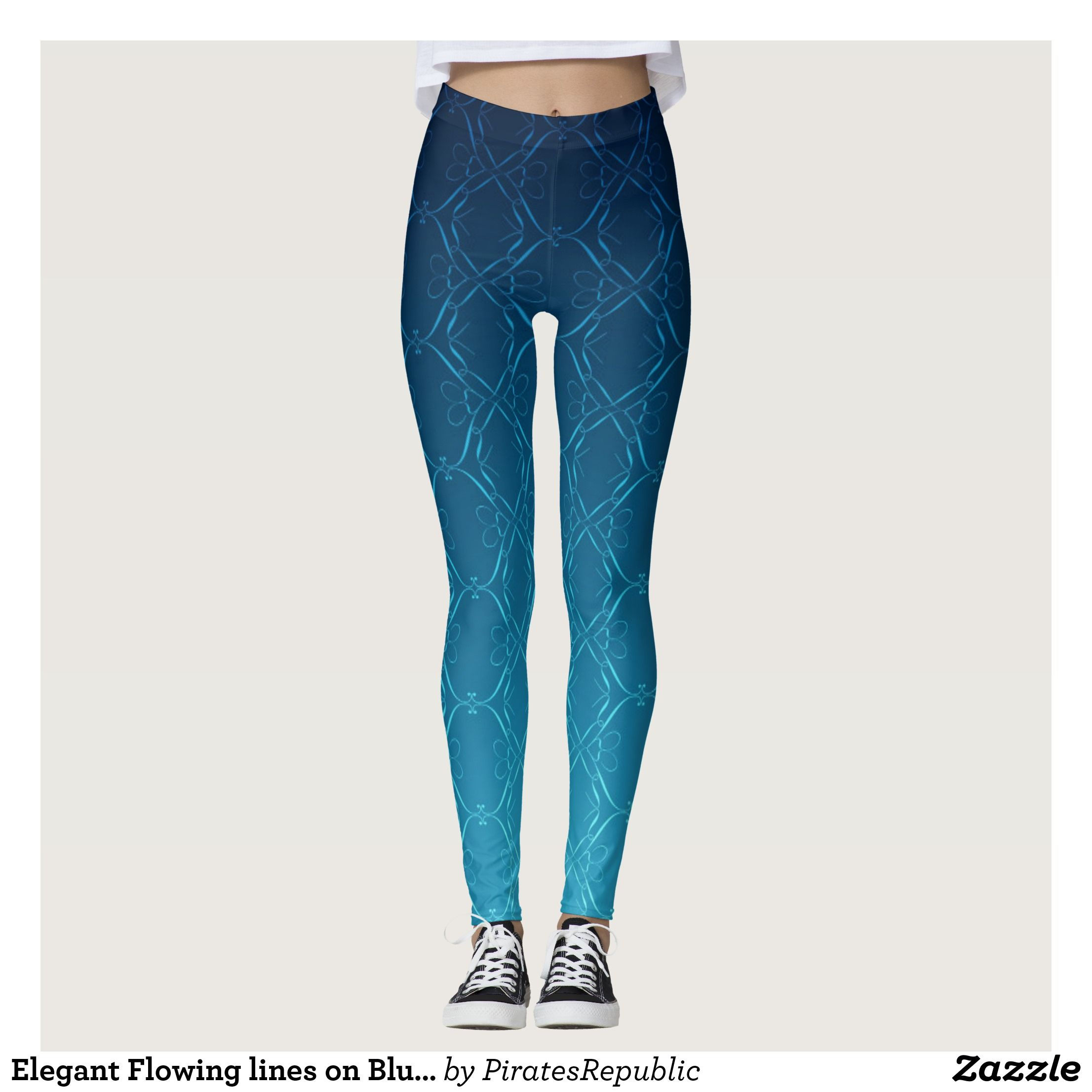 d234c09925f92e Elegant Flowing lines on Blue Ombre Leggings : Beautiful #Yoga Pants -  #Exercise Leggings and #Running Tights - Health and Training Inspiration -  Clothing ...