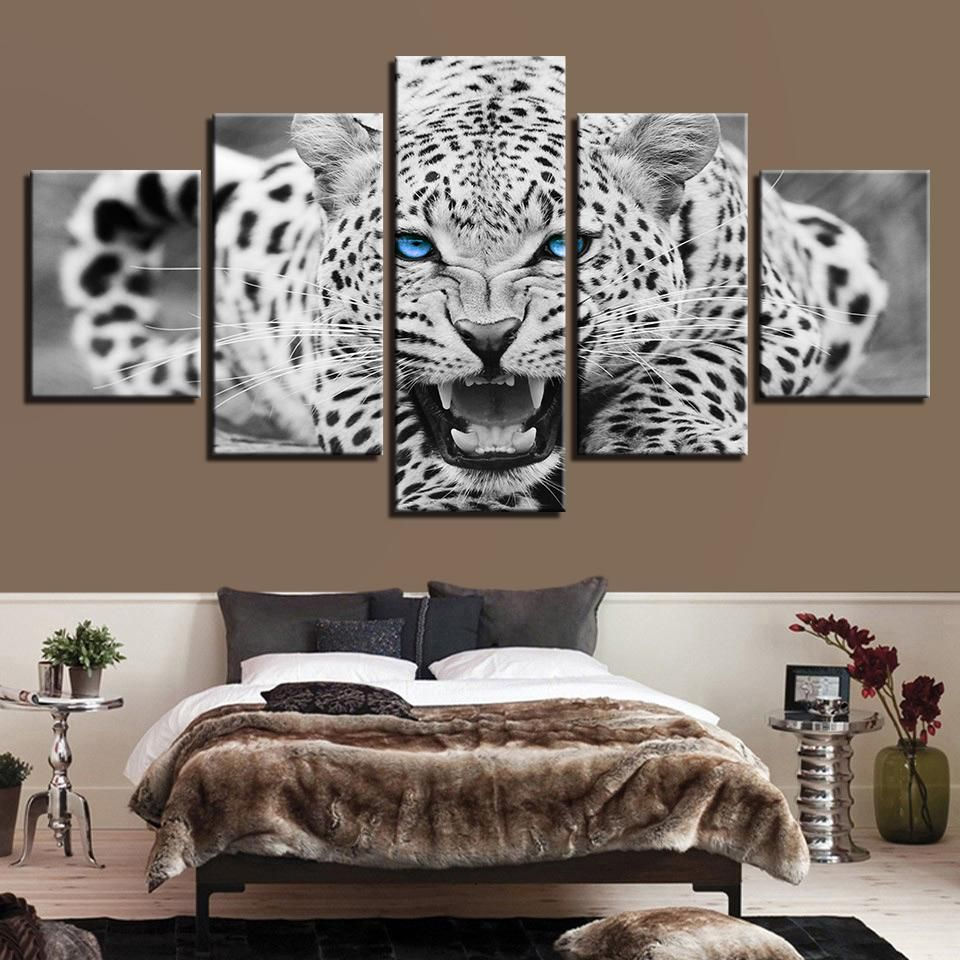 large blue  eye Leopard Tiger Canvas Wall Art Picture Print