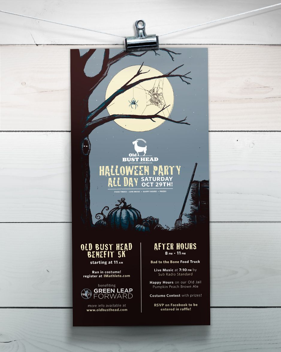 Bad design logo old bust head brewing co poster flyer halloween party moon tree