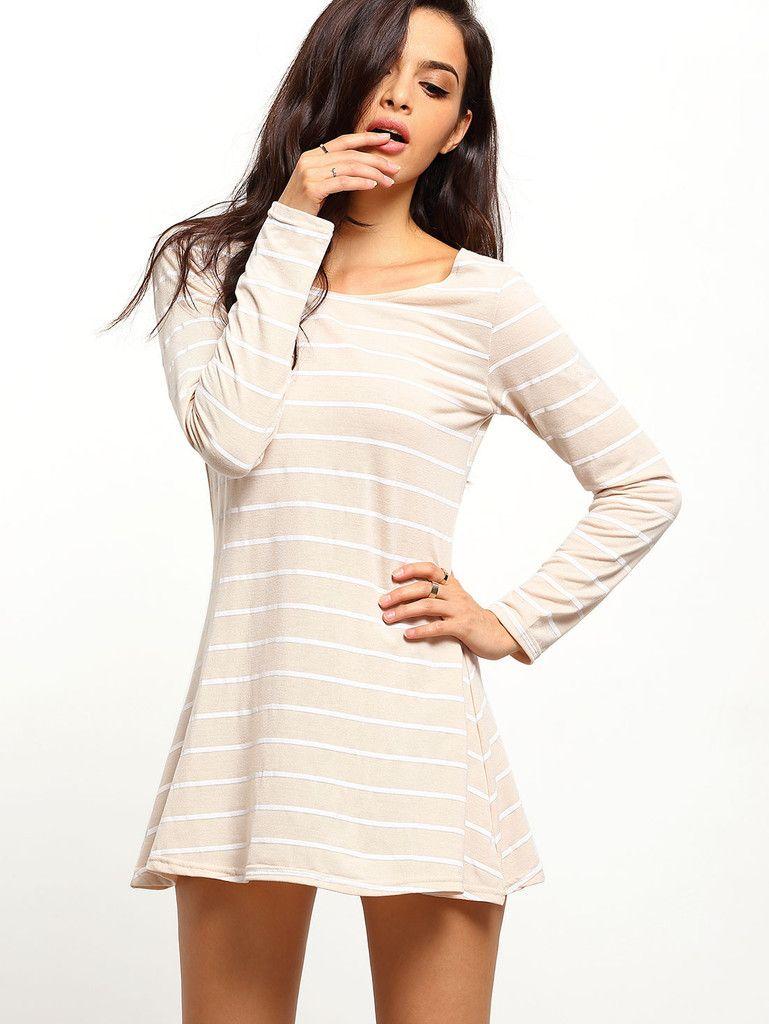 Khaki striped open back shift dress bf pinterest khakis