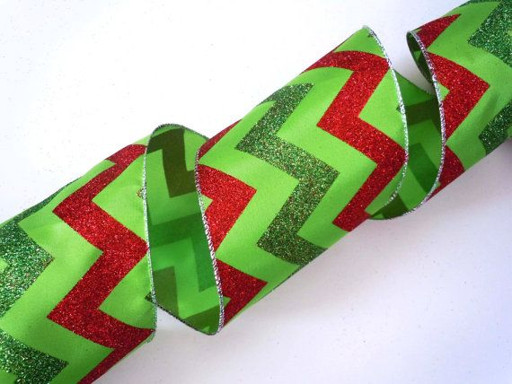 "/& LIME DOTS 2.5/"" WIRED  RED ORGANZA WITH RED,GREEN"