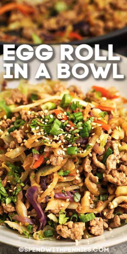 This Egg Roll in a Bowl recipe can be used with chicken instead of pork, and any veggies you want! Add snow peas, water chestnuts, or mushrooms for a different flavor. #spendwithpennies #eggrollinabowl #maindish #recipe #asian #lowcarb