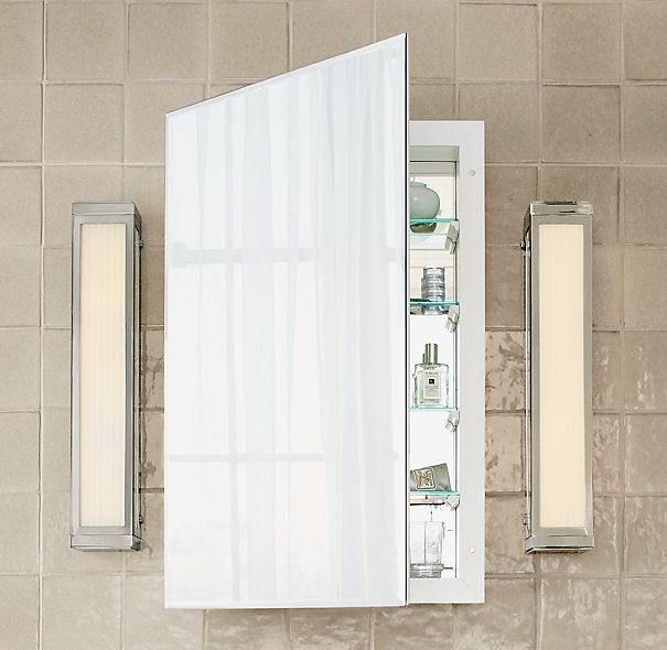RH Frameless Inset Medicine Cabinet S269.00. Mirror On Back Of Door And  Inside. Sml 18w X 28h, Lrg 22.5w X 35h