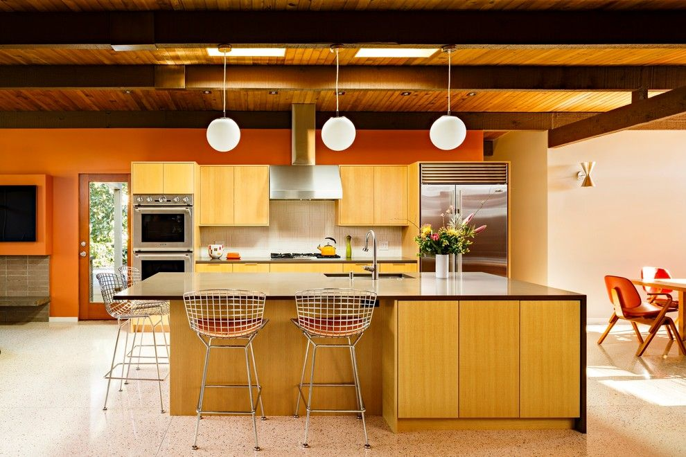 Mid Century Kitchen Cabinets In Kitchen Midcentury With High Gloss .