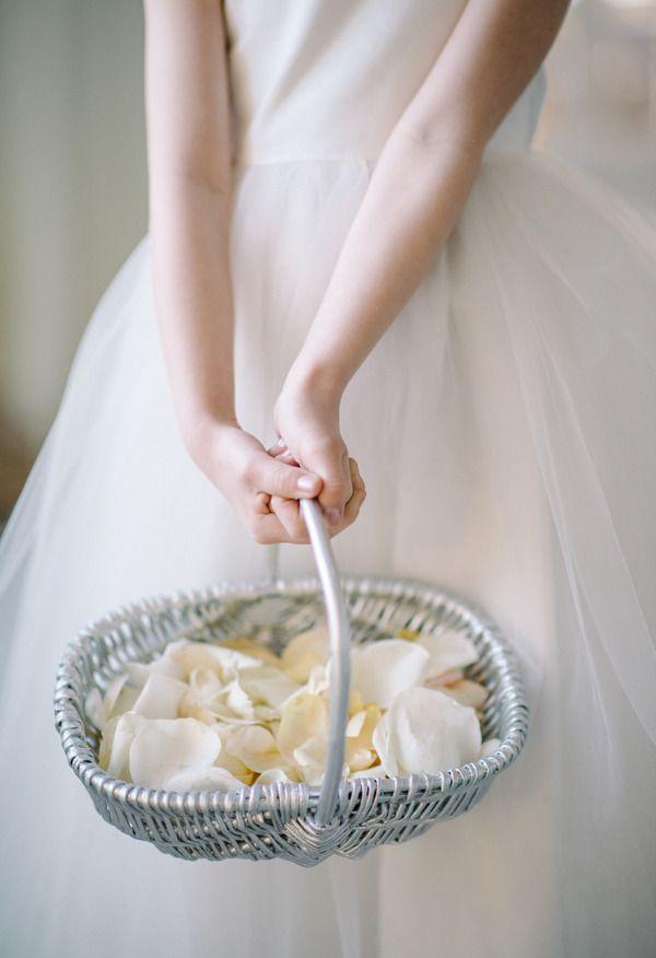 Cream rose petals, white tulle dress, pretty flower girl // Sean Money + Elizabeth Fay