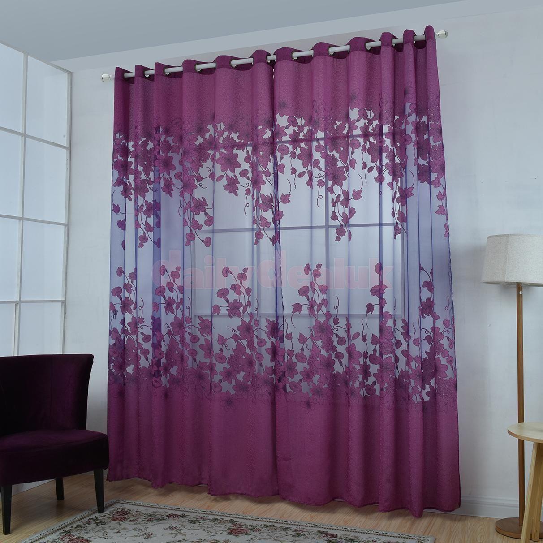 Door window coverings  floral curtain window drape panel sheer valances decor screen purple