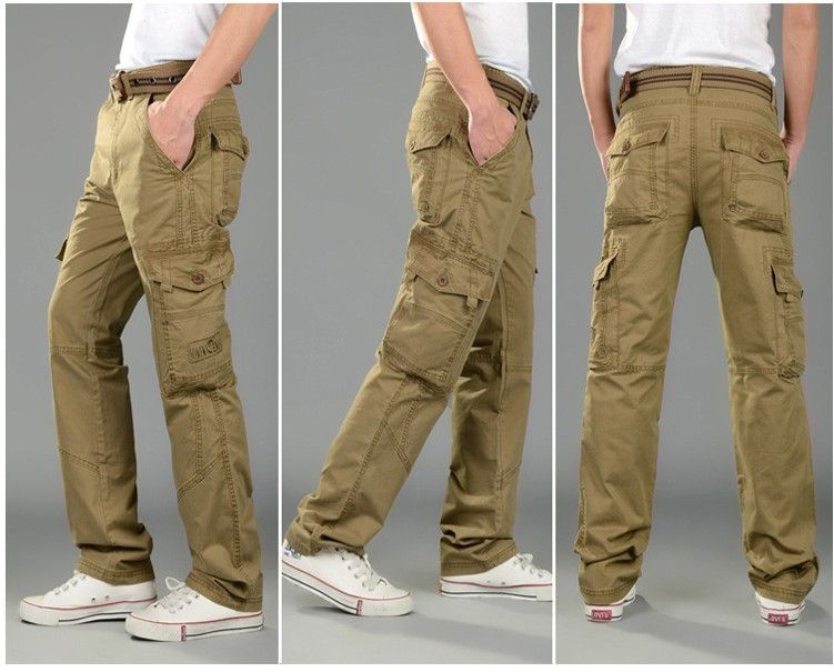 High-Quality-Men-s-Cargo-Pants-Multi-Pocket-Khaki-Army-Military ...