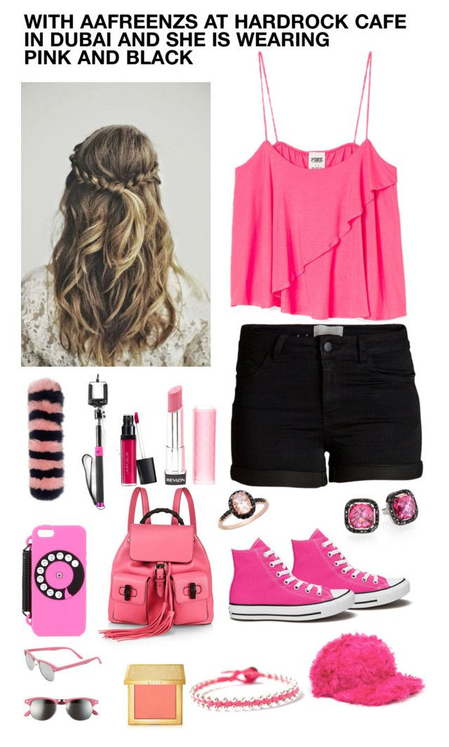 WITH @Aafreenzs IN DUABI AT HARDROCK CAFE AND SHE IS WEARING PINK AND BLACK by zara1515 on Polyvore featuring Pieces, Converse, Gucci, Suzanne Kalan, BijouxBar by Vivien Frank, Ice, Yazbukey, House of Holland, Tu Es Mon Trésor and Steve Madden