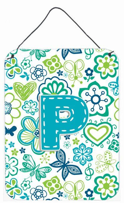 Letter P Flowers and Butterflies Teal Blue Wall or Door Hanging Prints CJ2006-PDS1216