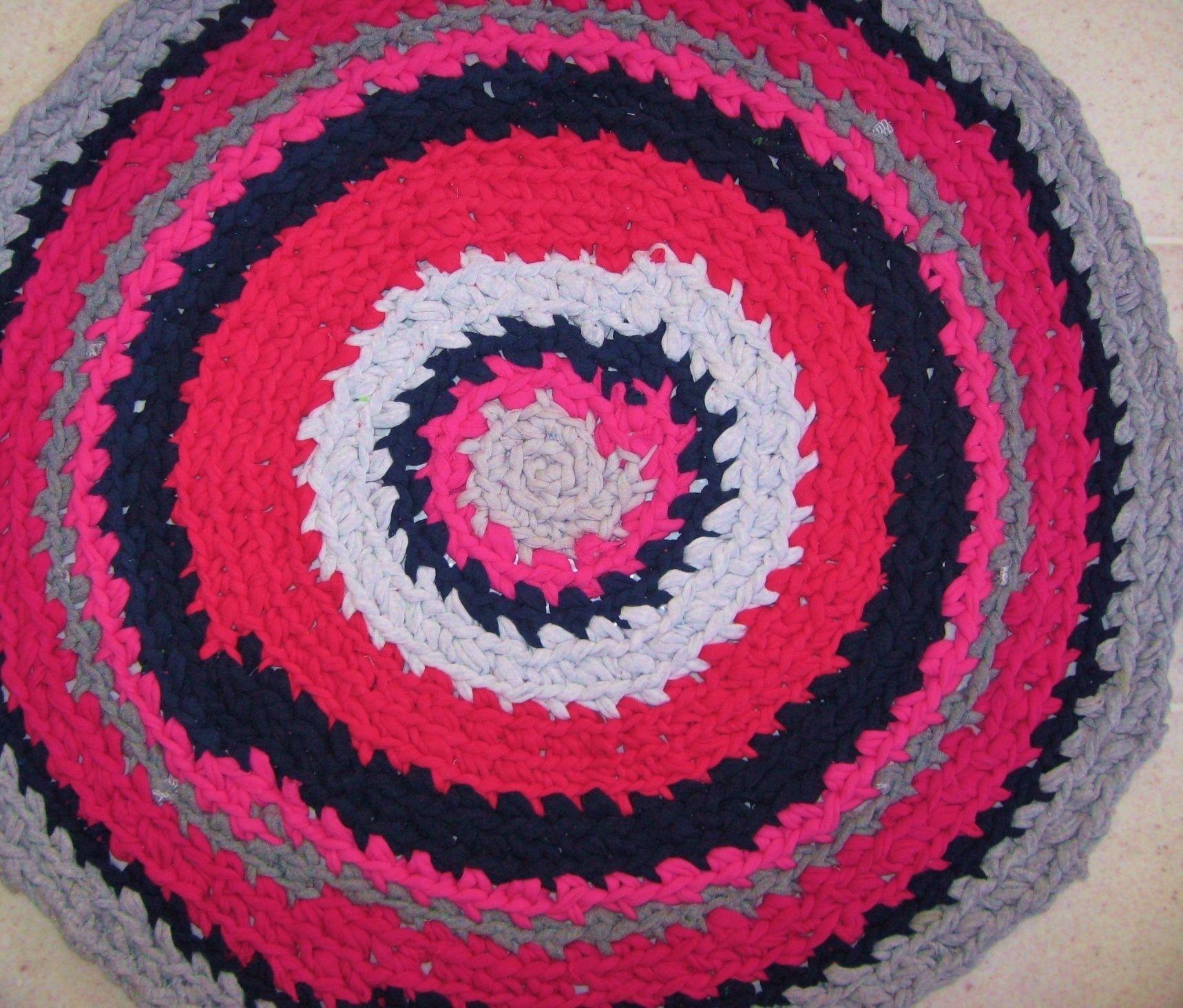Recycled T Shirt Yarn Crocheted Rug