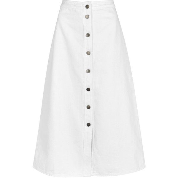 big sale enjoy bottom price sale M.i.h Jeans Bell white denim midi skirt ($300) ❤ liked on ...