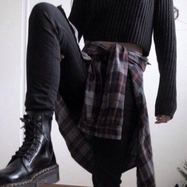 jacket black shoes black jeans flannel shirt grunge shoes grunge grunge wishlist sweater #wintergrunge