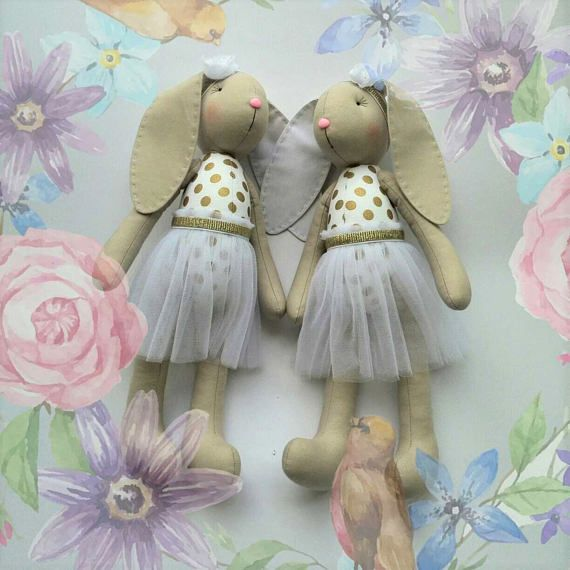 Stuffed bunny Baby shower girl Stuffed toys White bunny doll