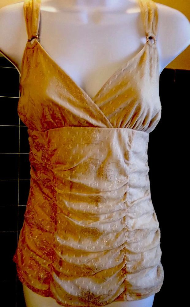 Express Gold Embossed Women's Camisole/Top, Rhinestone Rings In Strapes, 10  | eBay