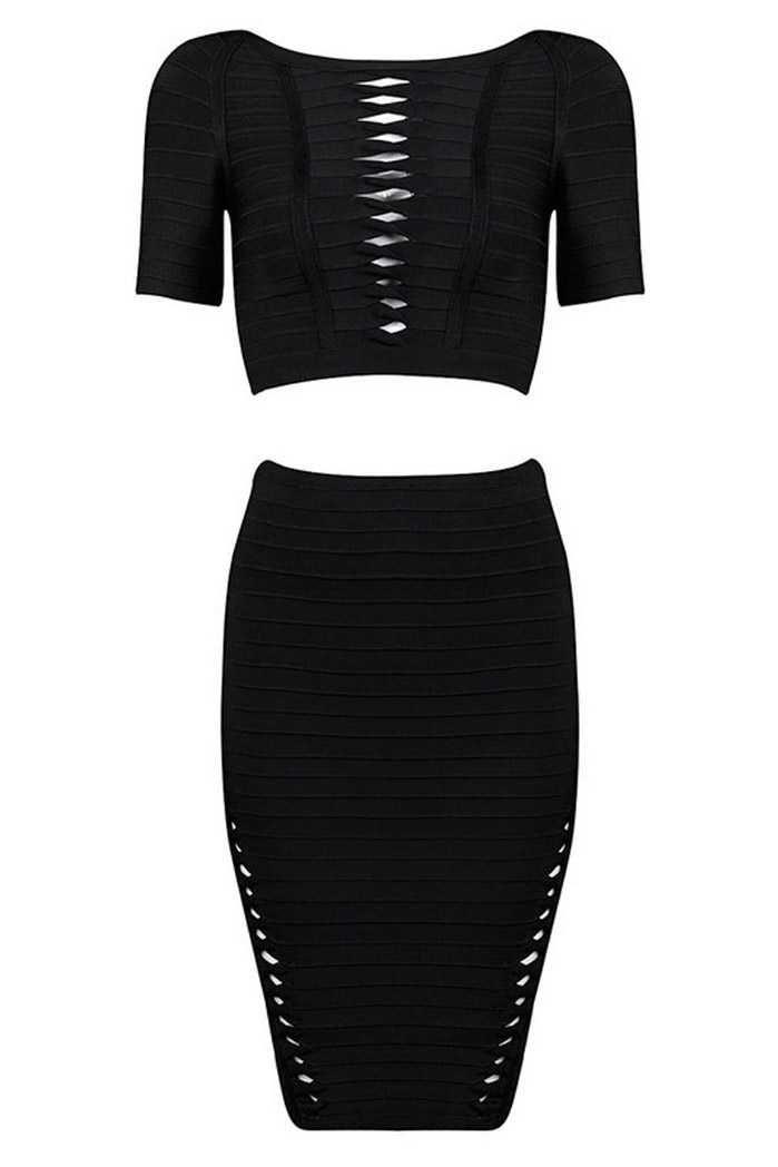 Herve Leger Julianne Twist Detail Bandage Top Black Sleeve Dresses