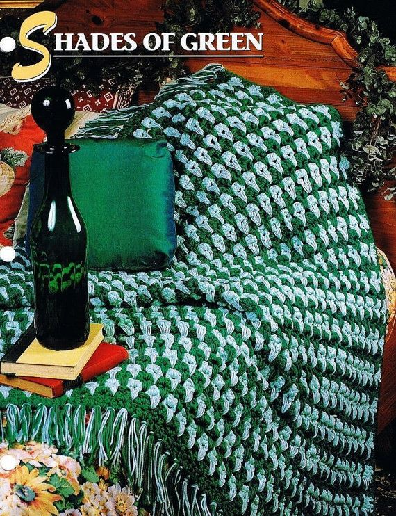 Shades of Green, Annie\'s Attic Crochet Quilt & Afghan Pattern Club ...