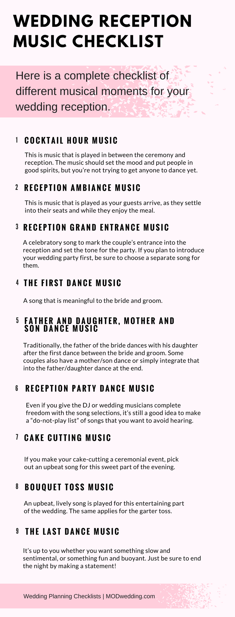 Wedding Reception Music Checklist MusicEntrance Songs