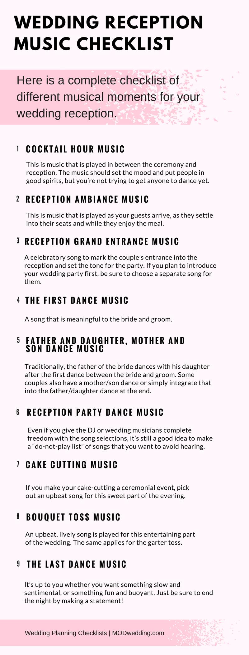Wedding Reception Music Checklist Wedding reception