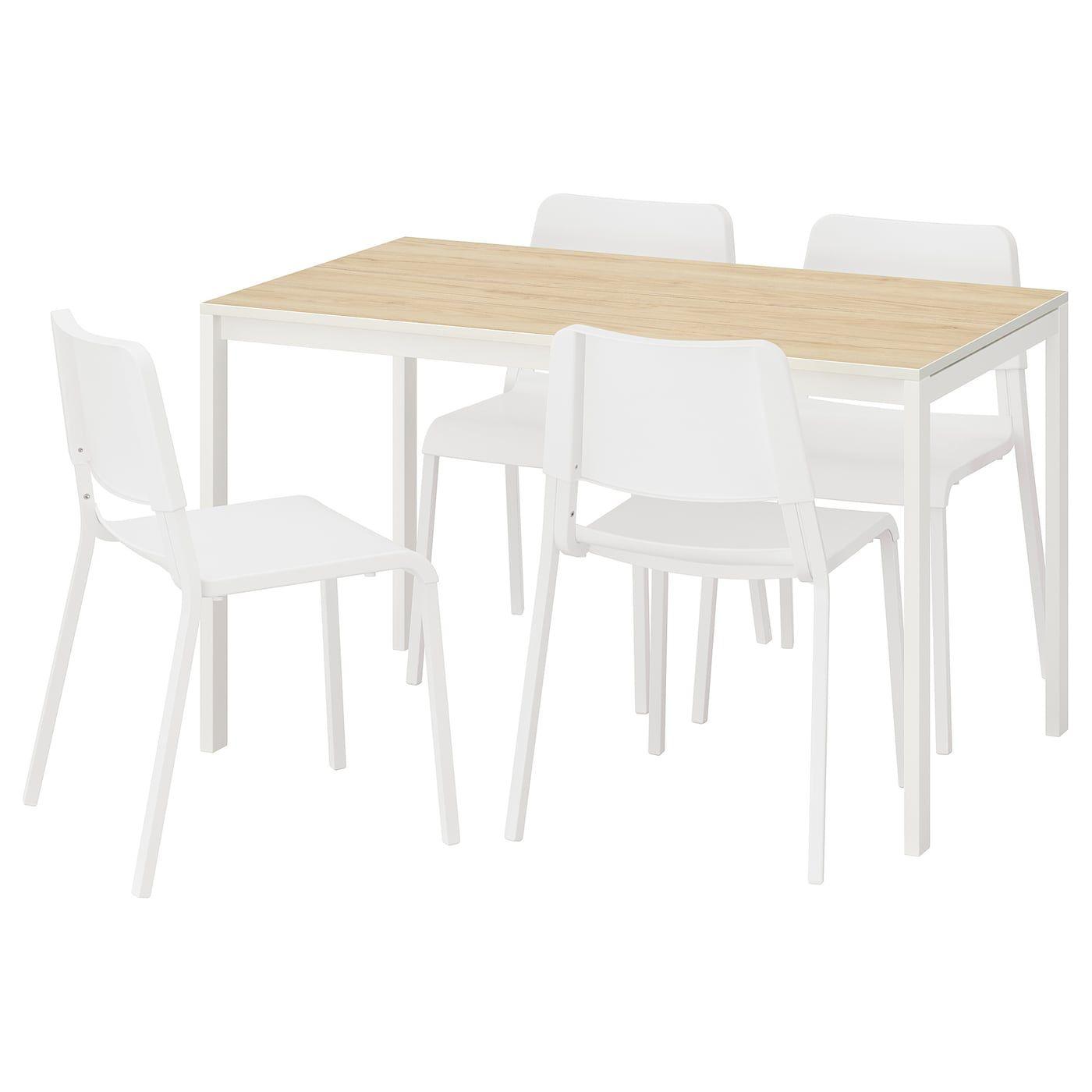 Melltorp Teodores Tisch Und 4 Stuhle Esche Weiss Couchtisch
