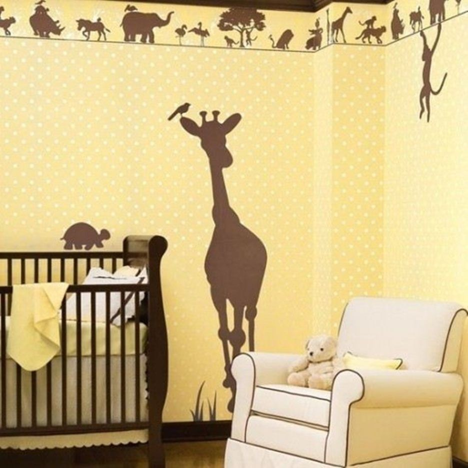Bedroom, : Casual Cream And Brown Deer Wall Painting Nursery Room ...