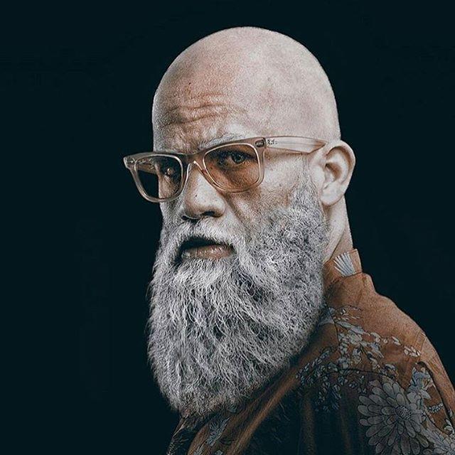 skaldet med skæg