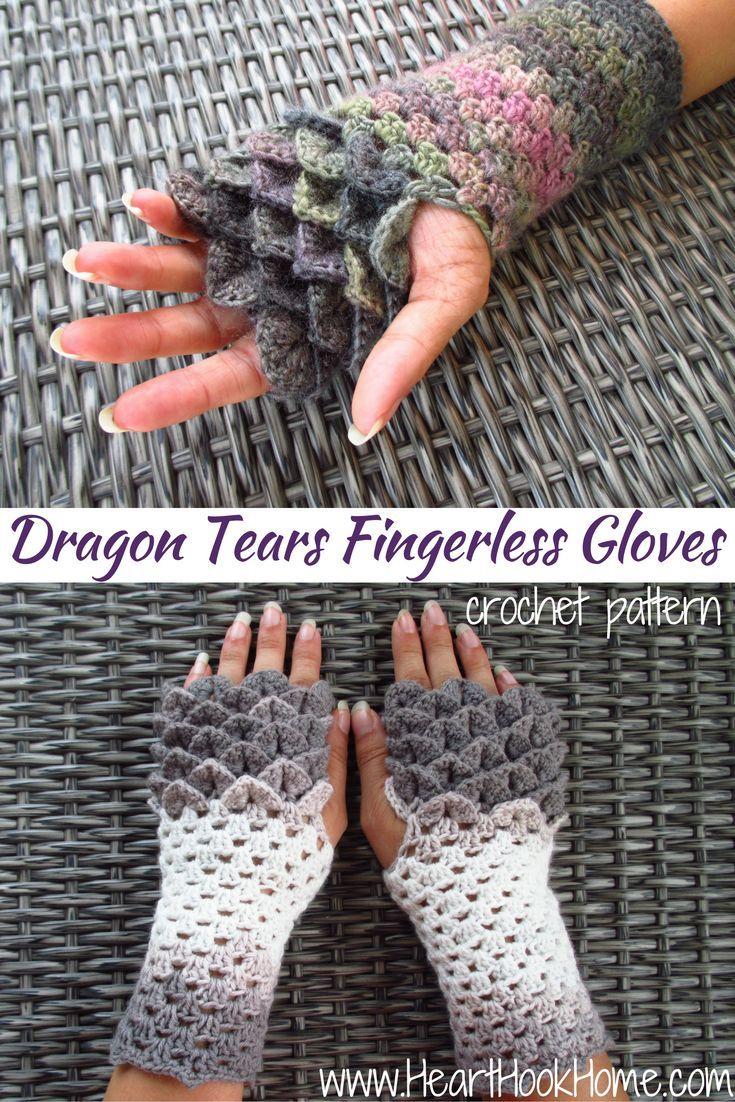 Dragon Tears Fingerless Gloves Crochet Pattern http://hearthookhome ...