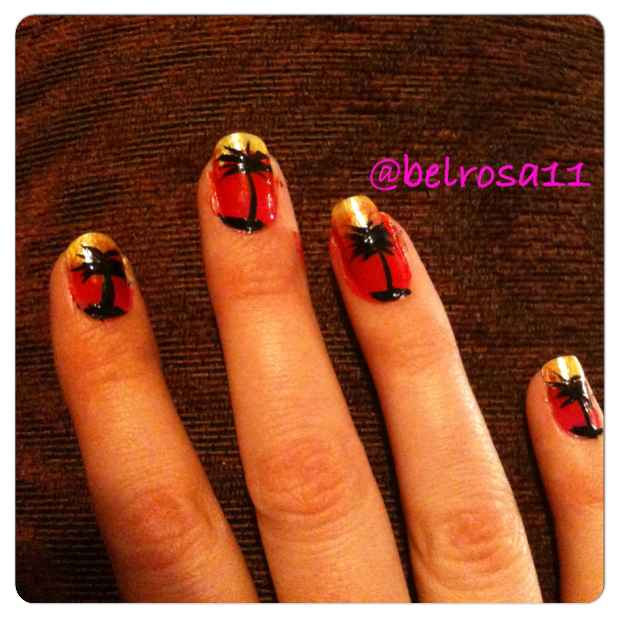 Red yellow black sunset palm tree nails | hands beauty | Pinterest