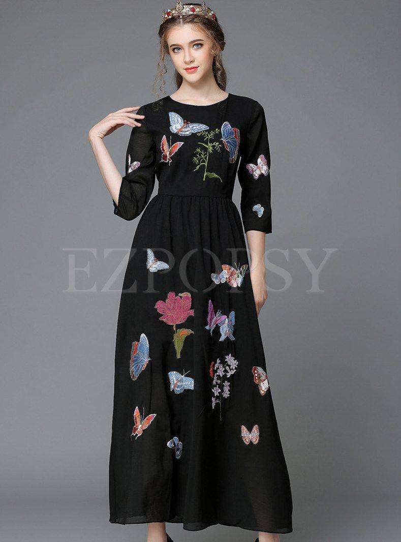Oneck mid sleeve long black dress trajes pinterest black