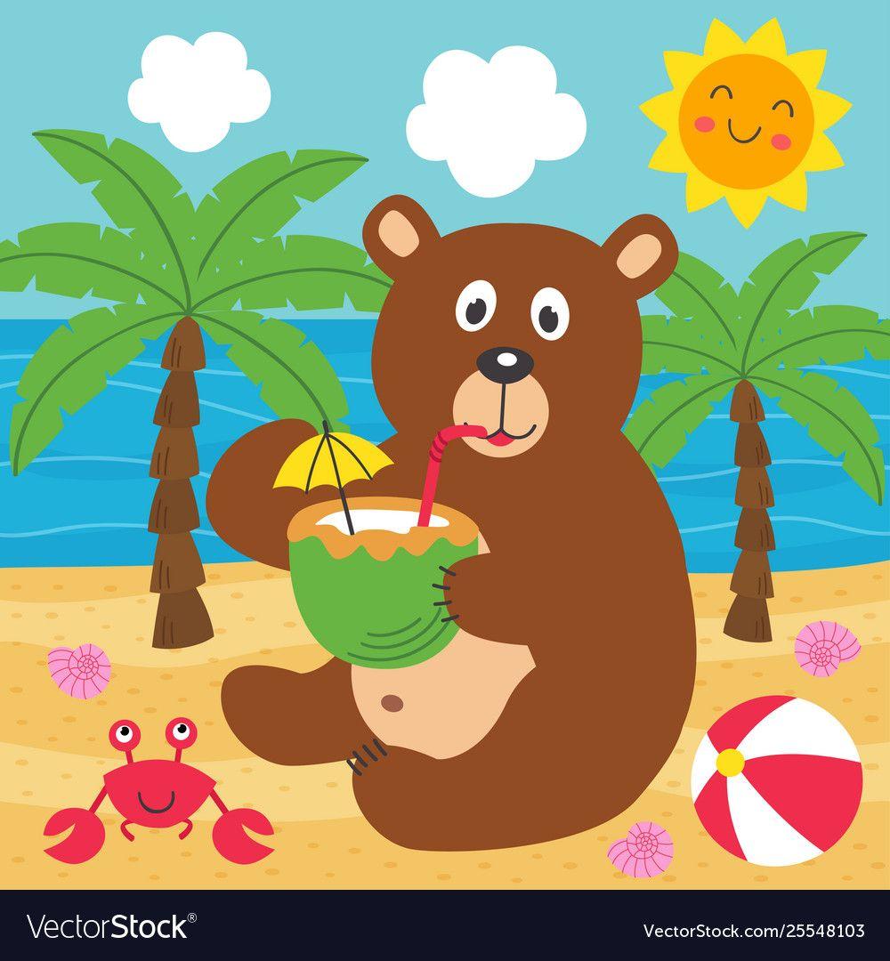 Bear drinks coconut milk on beach Royalty Free Vector Image ,