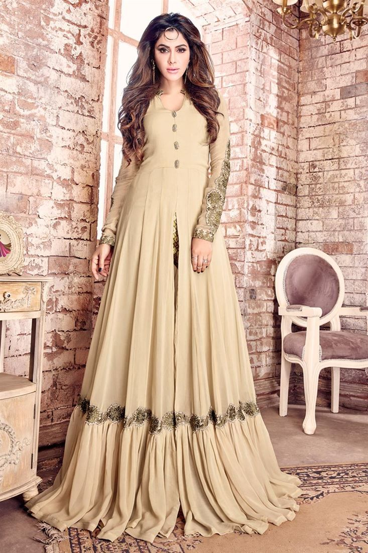 Attractively embroidered georgette fabric party wear anarkali suit