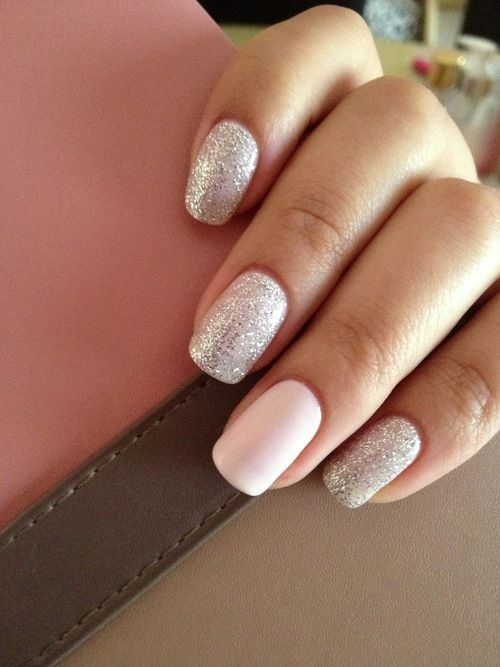 Silver And Pink Nails Silver Glitter Accent Nails Wedding
