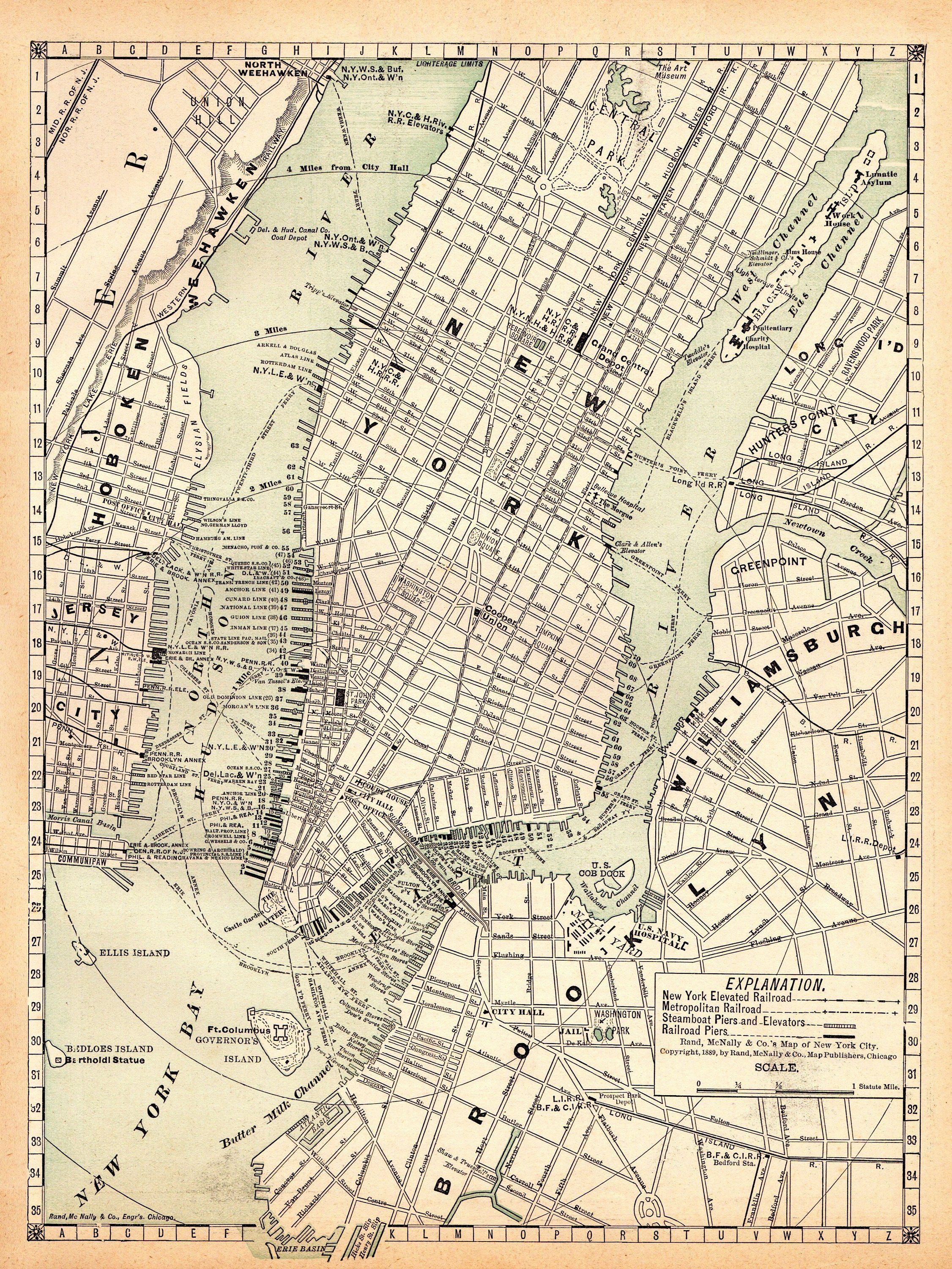 1891 Antique New York City Street Map Reproduction Print Of Etsy In 2020 New York City Map Manhattan Map Map Of New York