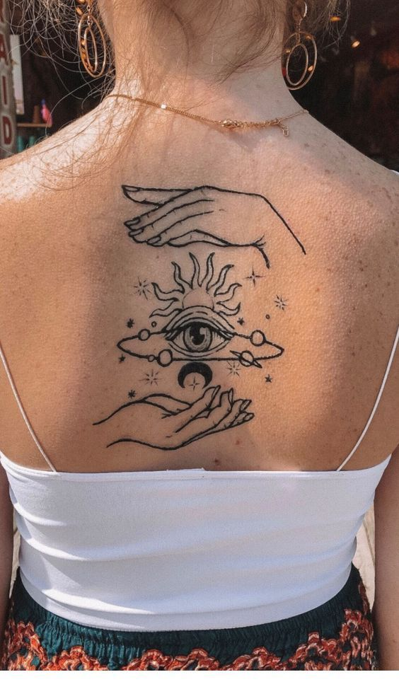 An amazing back tattoo - - #amazing #backtatto #coupletatto #musictatto #shouldertatto
