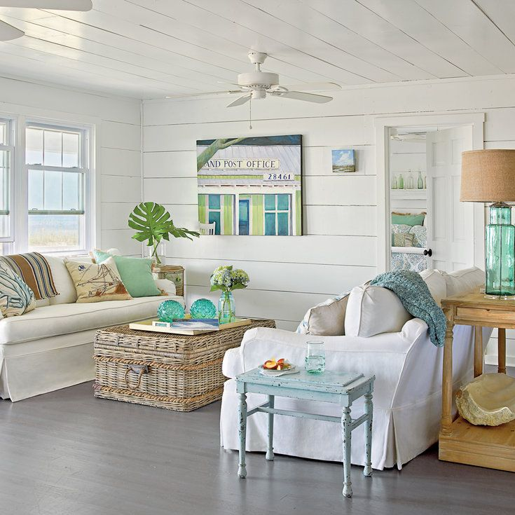 Use Watery Hues   40 Beautiful Beachy Living Rooms   Coastal Living