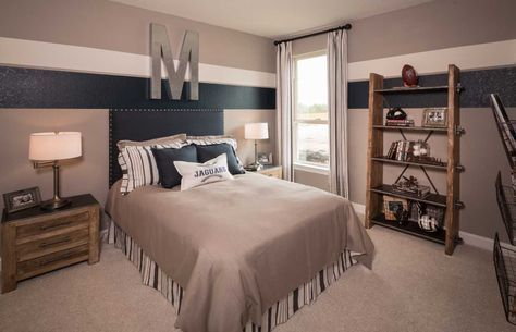 Like this stripe idea on right for sports bathroom but using navy instead of the charcoal/black.