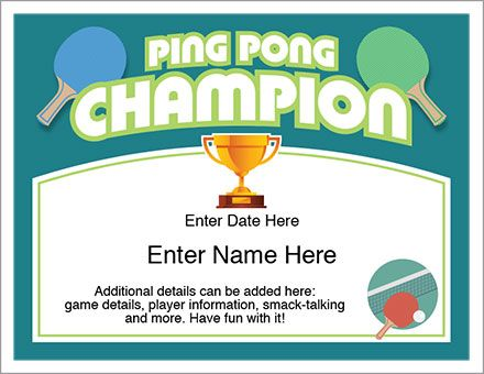 Ping pong certificate to recognize the champ in your neck of the champs yadclub Choice Image