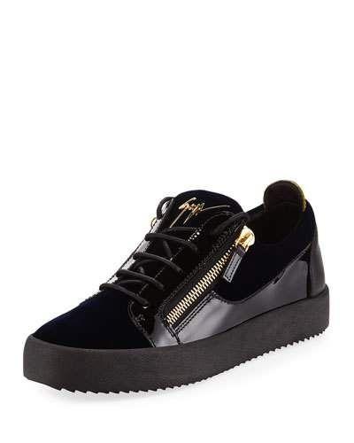 a2e91536db Giuseppe Zanotti Men s Velvet   Patent Leather Low-Top Sneaker ...